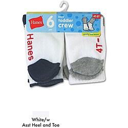 Hanes Toddler Boy's Non-skid Crew Socks (Pack of 6)