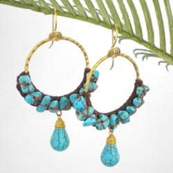 Goldtone Moon Blue Turquoise Hoop Earrings (Thailand)