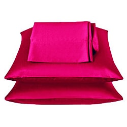 Fuschia Pink Satin 4-piece Sheet Set