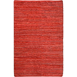 Hand-woven Matador Red Leather Rug (9' x 12')