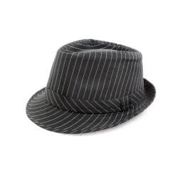 Faddism Black/ White Stripe Fedora Hat