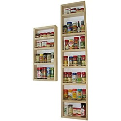 Easy-to-Mount Solid Pine Wood Wall and Door Spice Racks (Set of 2)