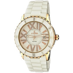 Le Chateau Women's 'Persida' White Ceramic Steel Case Watch