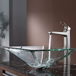 KRAUS Square Glass Vessel Sink in Clear with Virtus Faucet in Brushed Nickel 8758843