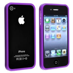 INSTEN Purple Shiny Bumper TPU Rubber Skin Phone Case Cover for Apple iPhone 4/ 4S