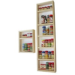 WG Wood Products Solid Natural Wood Surface Mounted Kitchen Spice Rack