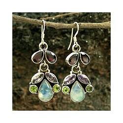 Sterling Silver 'Indian Rainbow' Multi-gemstone Earrings (India)