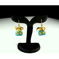 Goldtone Turquoise Heart Earrings (Thailand)
