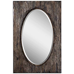 Uttermost Hitchcock Distressed Wood Tone Framed Mirror