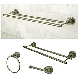 Satin Nickel Three-Piece Bathroom Accessory Set with Dual Towel Bar