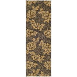 Safavieh Black/Natural Indoor-Outdoor Floral Rug (2'7x 8'2)