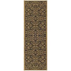 Safavieh Black/ Natural Indoor Outdoor Rug (2'7x 8'2)