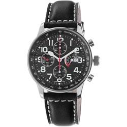 Zeno Men's P557PR-A1 'Retro' Black Dial Black Leather Strap Automatic Watch