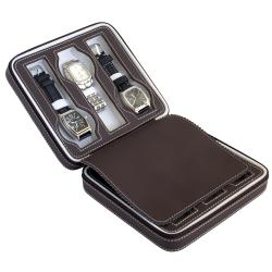 Caddy Bay Collection Brown Compact Leatherette 6-Watch Travel Case