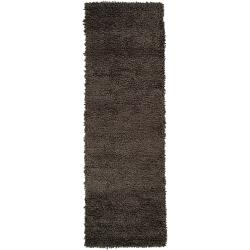 Hand-woven Gray Snares Colorful Plush Shag New Zealand Felted Wool Rug (2'6 x 8')