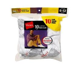 Hanes Men's Cushion Low-cut White Socks (Pack of 10) 8807096