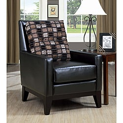 Dark Brown Leather Look Chair with Accent Pillow