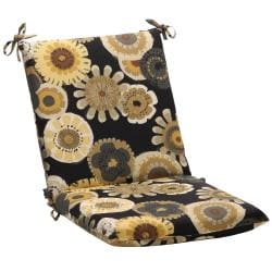 Squared Black/ Yellow Floral Outdoor Chair Cushion