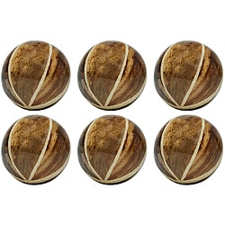 Red Vanilla Nature Sphere 4-inch Banana Bark Balls (Set of 6)