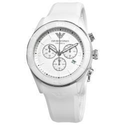 Emporio Armani Men's AR1435 'Ceramic' White Silicone Strap Chronograph Watch