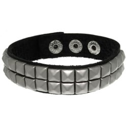 CGC Black Leather and Stainless Steel Two-row Pyramid Stud Bracelet