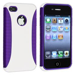 INSTEN Dark Purple TPU/ White Hard Plastic Hybrid Phone Case Cover for Apple iPhone 4/ 4S