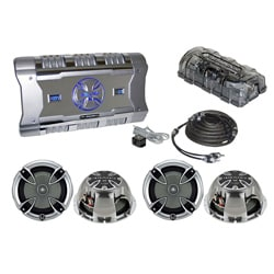 """BrandX 4 Channel 1204 Watts Amplifier W/ 2 Pairs 6.5"""" Speakers W/ RCA Cable"""