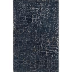 Hand-tufted Contemporary Blue Papillion New Zealand Wool Abstract Rug (5' x 8')