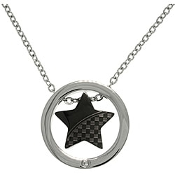 CGC Stainless Steel Two-tone CZ Checker Star Circle Necklace