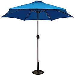 TropiShade 9-foot Royal Blue Aluminum Bronze Lighted Market Umbrella