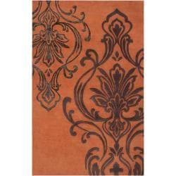 Candice Olson Hand-tufted Orange Orpheus Damask Design Wool Rug (9' x 13')