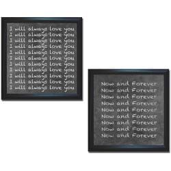 Hakimipour-Ritter 'I Love You Now and Forever' Framed 2-piece Canvas Art Set