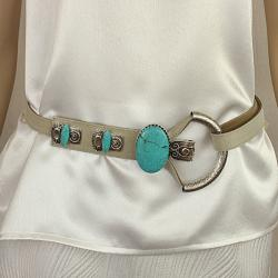 Winter White Lizard Embossed Leather Belt with Turquoise and Hand Hammered Antique Silver Buckle