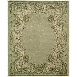 "Nourison Hand-Tufted Chateau Provence Green Floral Rug (7'9"" x 9'9"")"