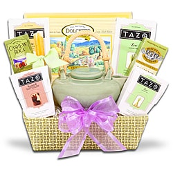 Alder Creek Zen Tea Tray Gift Basket with Assorted Teas and Snacks