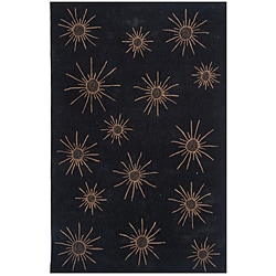Dynasty Hand-tufted Black/ Tan Rug (5'9 Round)