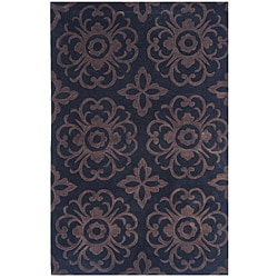 Dynasty Hand-Tufted Black/Brown Geometric Rug (3'6 x 5'6)