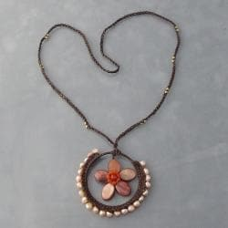 Pearl Floral Moon Cotton Rope Necklace (Thailand)
