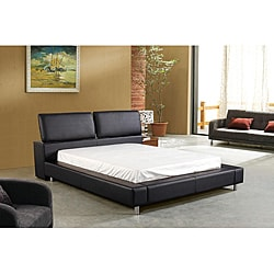 Houston Queen-sized Black Leatherette Bed