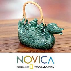 Ceramic 'Mamma Duck' Teapot (Indonesia)