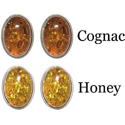 CGC Stainless Steel Oval Synthetic Amber Stud Earrings