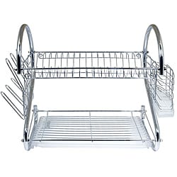 Better Chef 16-inch Chrome Dish Rack with Utensil Holder, Cup Rack and Tray 8874684