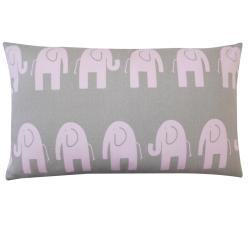 Jiti Kids Pink and Grey Elephant-print Rectangle Decorative Pillow