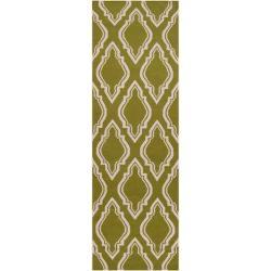 Jill Rosenwald Hand-woven Green Yeti Wool Rug (2'6 x 8')