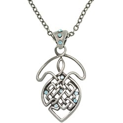 CGC Pewter Blue Crystal Celtic Knot Necklace
