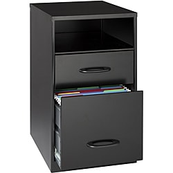 Office Designs Black Steel 2-drawer File Cabinet with Shelf 8884360