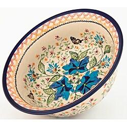 Polish Stoneware Pottery Flared-top Serving Bowl