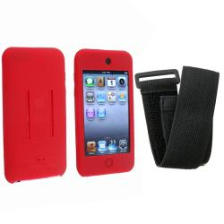 INSTEN Red/ Black Skin iPod Case Cover w/ Armband for iPod Touch