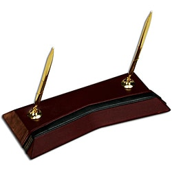 Dacasso Burgundy Leather Double Pen Stand
