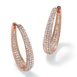 PalmBeach 8.10 TCW Round Cubic Zirconia Inside-Out Hoop Earrings Rose Gold-Plated Glam CZ